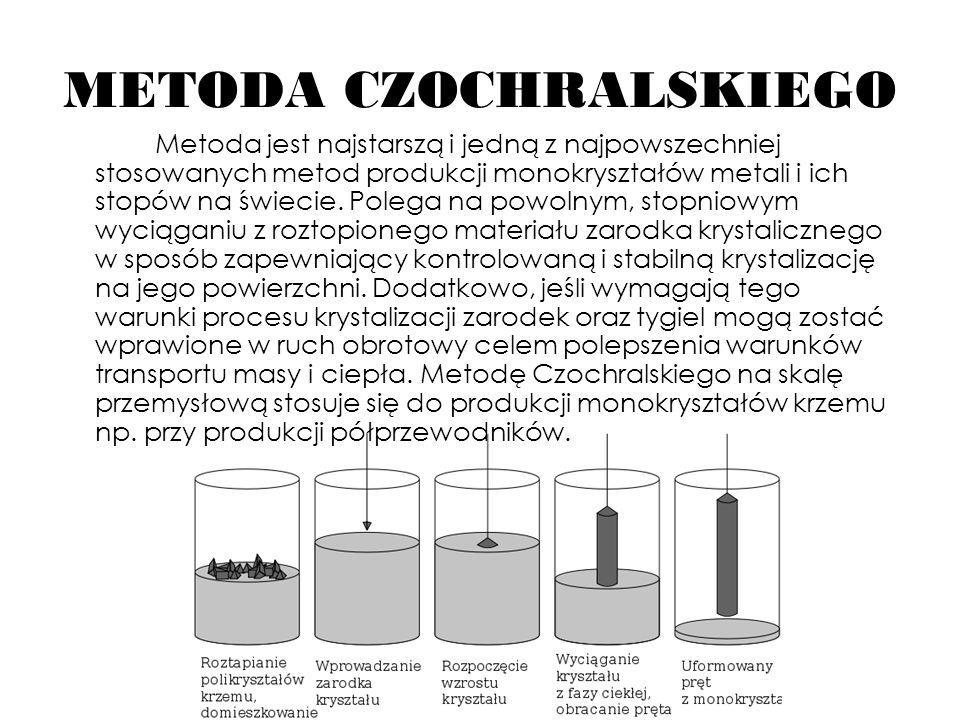 METODA CZOCHRALSKIEGO Metoda jest najstarszą i jedną z najpowszechniej stosowanych metod produkcji monokryształów metali i ich stopów na świecie. Pole