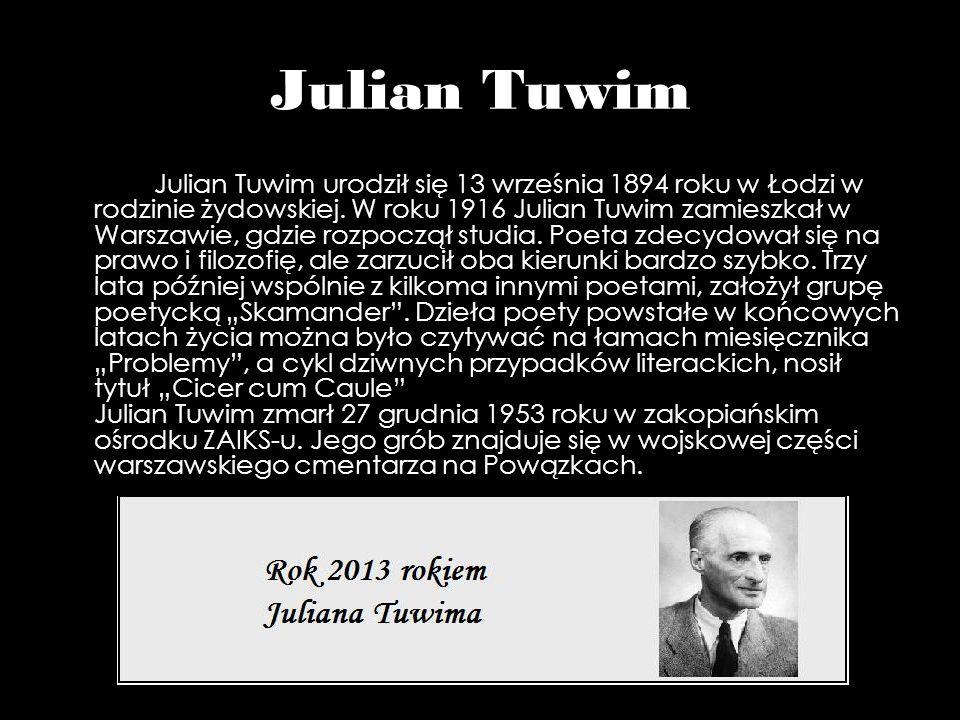 Julian Tuwim Julian Tuwim urodził się 13 września 1894 roku w Łodzi w rodzinie żydowskiej. W roku 1916 Julian Tuwim zamieszkał w Warszawie, gdzie rozp