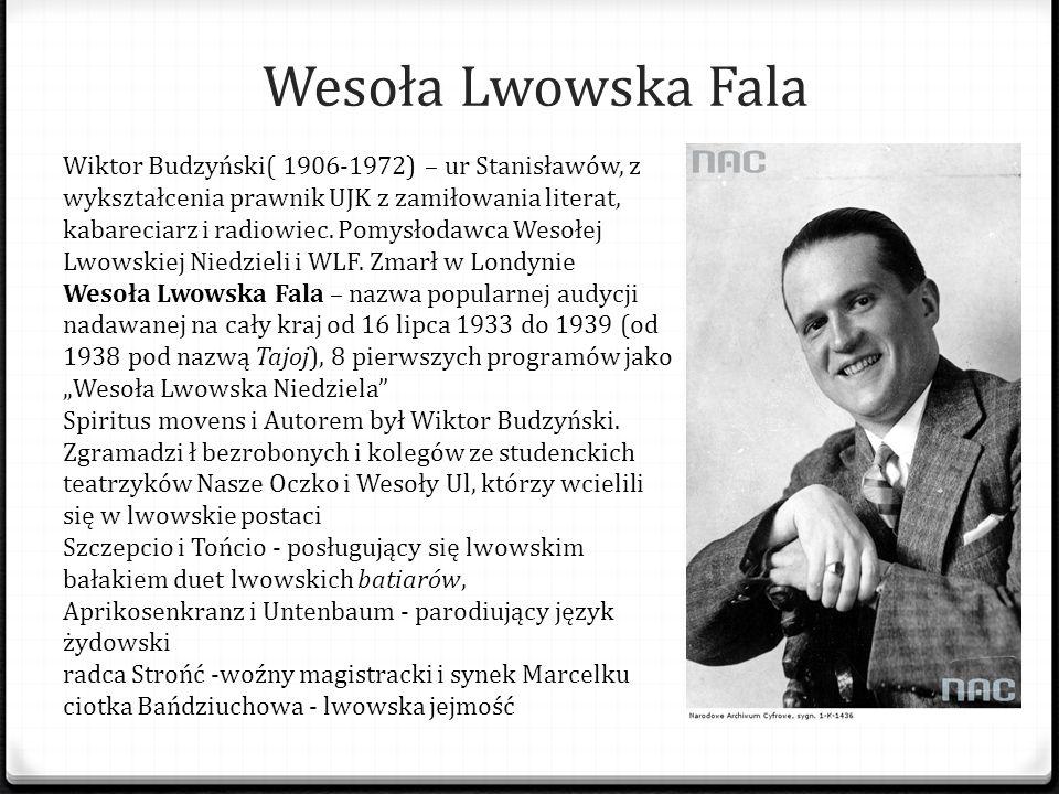 Wesoła Lwowska Fala Wiktor Budzyński( 1906-1972) – ur Stanisławów, z wykształcenia prawnik UJK z zamiłowania literat, kabareciarz i radiowiec. Pomysło