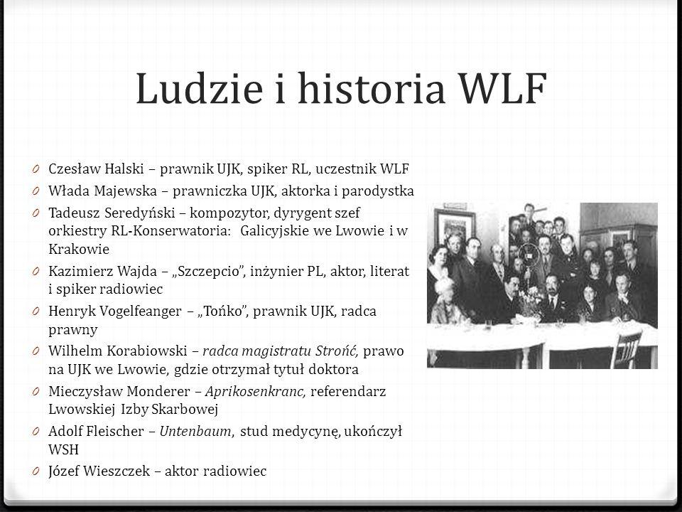 Ludzie i historia WLF 0 Czesław Halski – prawnik UJK, spiker RL, uczestnik WLF 0 Włada Majewska – prawniczka UJK, aktorka i parodystka 0 Tadeusz Sered