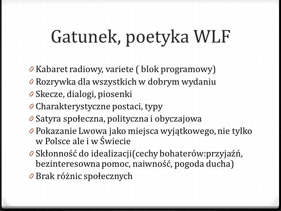 Gatunek, poetyka WLF 0 Kabaret radiowy, variete ( blok programowy) 0 Rozrywka dla wszystkich w dobrym wydaniu 0 Skecze, dialogi, piosenki 0 Charaktery
