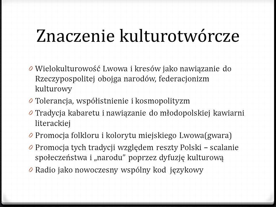 Znaczenie kulturotwórcze 0 Wielokulturowość Lwowa i kresów jako nawiązanie do Rzeczypospolitej obojga narodów, federacjonizm kulturowy 0 Tolerancja, w