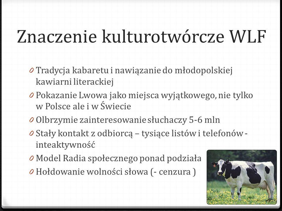 Znaczenie kulturotwórcze WLF 0 Tradycja kabaretu i nawiązanie do młodopolskiej kawiarni literackiej 0 Pokazanie Lwowa jako miejsca wyjątkowego, nie ty