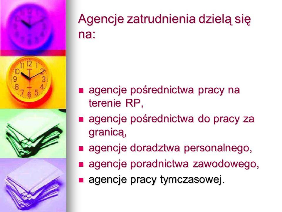 Agencje zatrudnienia dzielą się na: agencje pośrednictwa pracy na terenie RP, agencje pośrednictwa pracy na terenie RP, agencje pośrednictwa do pracy za granicą, agencje pośrednictwa do pracy za granicą, agencje doradztwa personalnego, agencje doradztwa personalnego, agencje poradnictwa zawodowego, agencje poradnictwa zawodowego, agencje pracy tymczasowej.