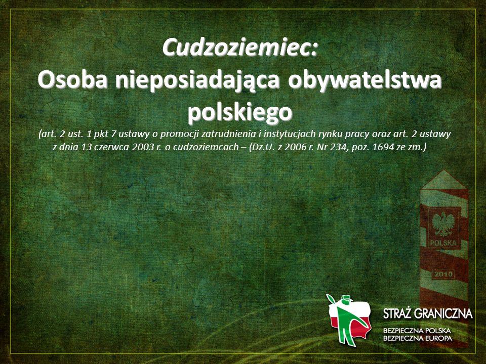 Cudzoziemiec: Osoba nieposiadająca obywatelstwa polskiego Cudzoziemiec: Osoba nieposiadająca obywatelstwa polskiego (art. 2 ust. 1 pkt 7 ustawy o prom