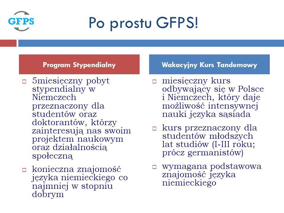 5miesięczny pobyt stypendialny w Niemczech przeznaczony dla studentów oraz doktorantów, którzy zainteresują nas swoim projektem naukowym oraz działalnością społeczną konieczna znajomość języka niemieckiego co najmniej w stopniu dobrym miesięczny kurs odbywający się w Polsce i Niemczech, który daje możliwość intensywnej nauki języka sąsiada kurs przeznaczony dla studentów młodszych lat studiów (I-III roku; prócz germanistów) wymagana podstawowa znajomość języka niemieckiego Program StypendialnyWakacyjny Kurs Tandemowy Po prostu GFPS!