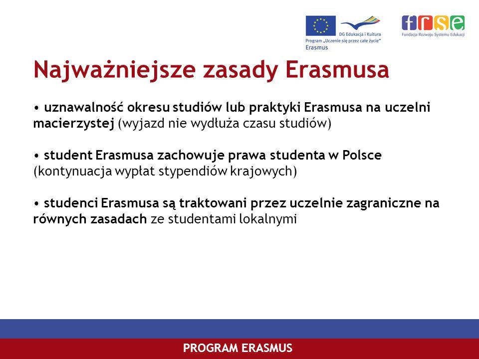 Najważniejsze zasady Erasmusa PROGRAM ERASMUS uznawalność okresu studiów lub praktyki Erasmusa na uczelni macierzystej (wyjazd nie wydłuża czasu studi