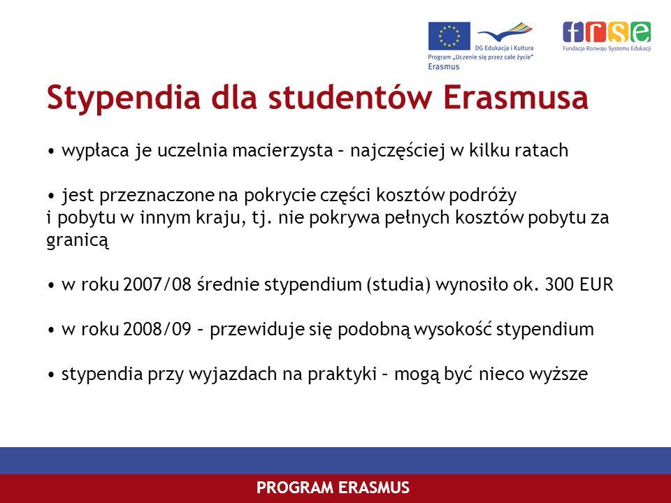 Stypendia dla studentów Erasmusa PROGRAM ERASMUS wypłaca je uczelnia macierzysta – najczęściej w kilku ratach jest przeznaczone na pokrycie części kos