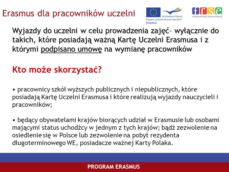 Erasmus dla pracowników uczelni PROGRAM ERASMUS Wyjazdy do uczelni w celu prowadzenia zajęć– wyłącznie do takich, które posiadają ważną Kartę Uczelni