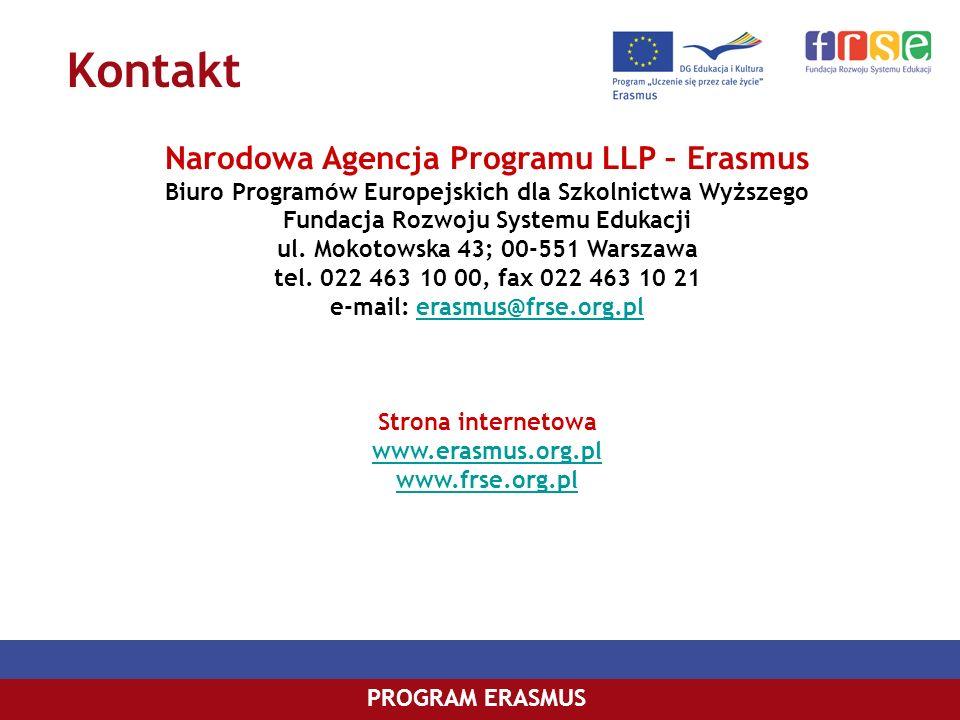 PROGRAM ERASMUS Narodowa Agencja Programu LLP – Erasmus Biuro Programów Europejskich dla Szkolnictwa Wyższego Fundacja Rozwoju Systemu Edukacji ul. Mo