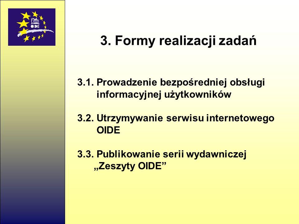3.1.Prowadzenie bezpośredniej obsługi informacyjnej użytkowników 3.2.