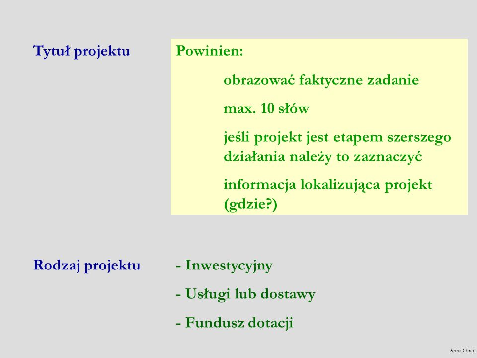 Powinien: obrazować faktyczne zadanie max. 10 słów jeśli projekt jest etapem szerszego działania należy to zaznaczyć informacja lokalizująca projekt (