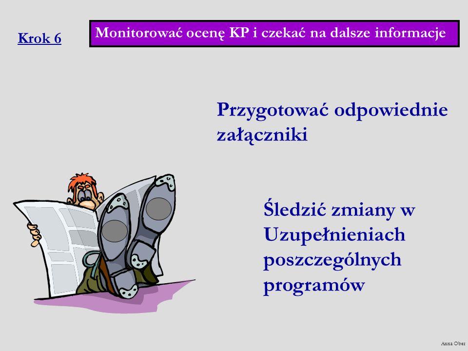 Krok 6 Przygotować odpowiednie załączniki Śledzić zmiany w Uzupełnieniach poszczególnych programów Monitorować ocenę KP i czekać na dalsze informacje