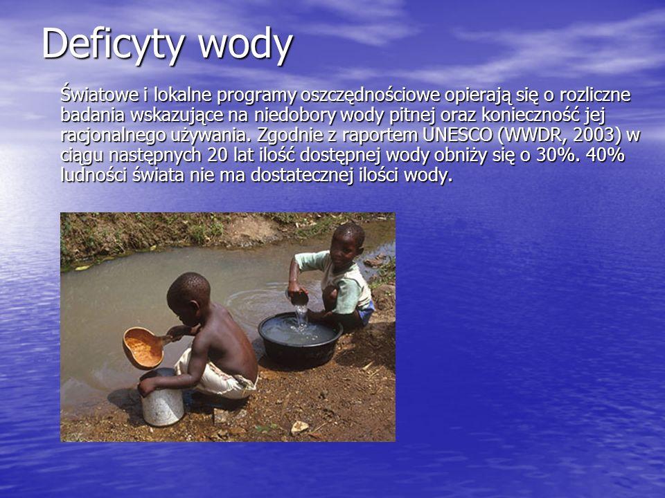 Deficyty wody Światowe i lokalne programy oszczędnościowe opierają się o rozliczne badania wskazujące na niedobory wody pitnej oraz konieczność jej ra
