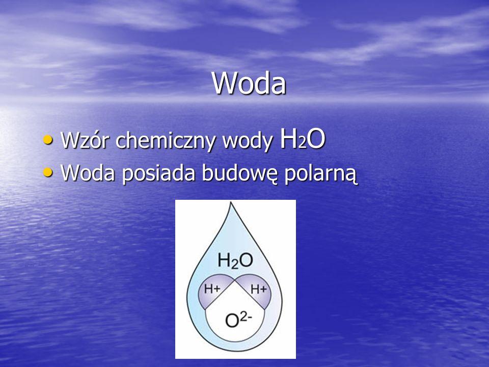 Właściwości wody temperatura topnienia pod ciśnieniem 1 atm: 0 °C = 273,152519 K temperatura topnienia pod ciśnieniem 1 atm: 0 °C = 273,152519 K temperatura wrzenia pod ciśnieniem 1 atm: 99,97 °C = 373,12 K temperatura wrzenia pod ciśnieniem 1 atm: 99,97 °C = 373,12 K ciepło właściwe: 4187 J/(kg ·K) = 1 kcl/(kg·K) ciepło właściwe: 4187 J/(kg ·K) = 1 kcl/(kg·K) odczyn (woda chemicznie czysta: pH 7,0) odczyn (woda chemicznie czysta: pH 7,0) –utlenialność wody (woda chemicznie czysta: 0)