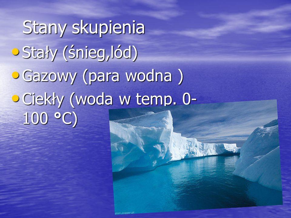 Stany skupienia Stały (śnieg,lód) Stały (śnieg,lód) Gazowy (para wodna ) Gazowy (para wodna ) Ciekły (woda w temp. 0- 100 °C) Ciekły (woda w temp. 0-