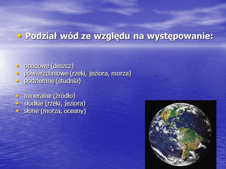 Podział wód ze względu na występowanie: Podział wód ze względu na występowanie: opadowe (deszcz) opadowe (deszcz) powierzchniowe (rzeki, jeziora, morz