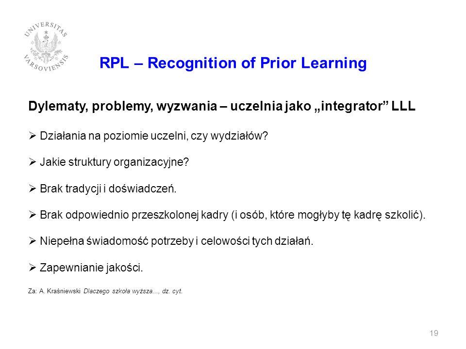 RPL – Recognition of Prior Learning Dylematy, problemy, wyzwania – uczelnia jako integrator LLL Działania na poziomie uczelni, czy wydziałów? Jakie st