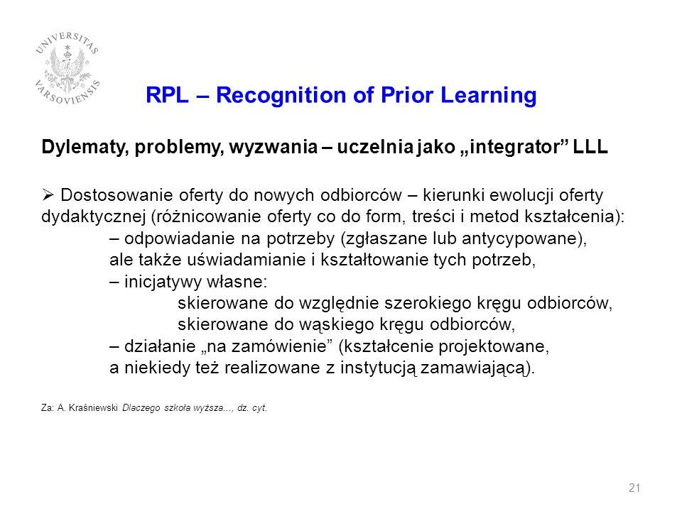 RPL – Recognition of Prior Learning Dylematy, problemy, wyzwania – uczelnia jako integrator LLL Dostosowanie oferty do nowych odbiorców – kierunki ewo