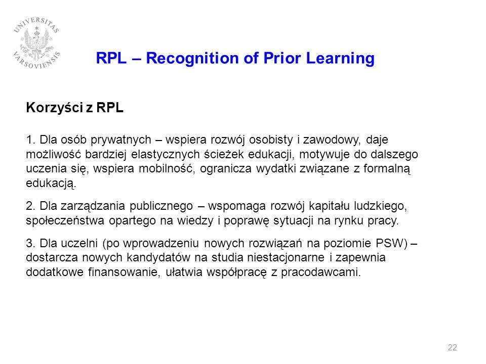 RPL – Recognition of Prior Learning Korzyści z RPL 1. Dla osób prywatnych – wspiera rozwój osobisty i zawodowy, daje możliwość bardziej elastycznych ś