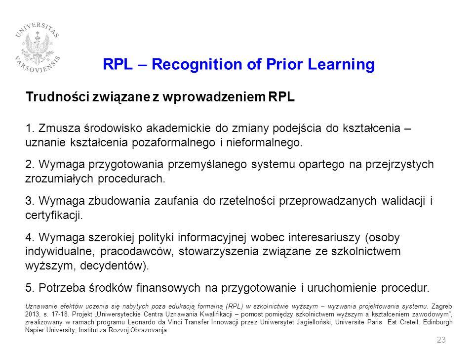 RPL – Recognition of Prior Learning Trudności związane z wprowadzeniem RPL 1. Zmusza środowisko akademickie do zmiany podejścia do kształcenia – uznan