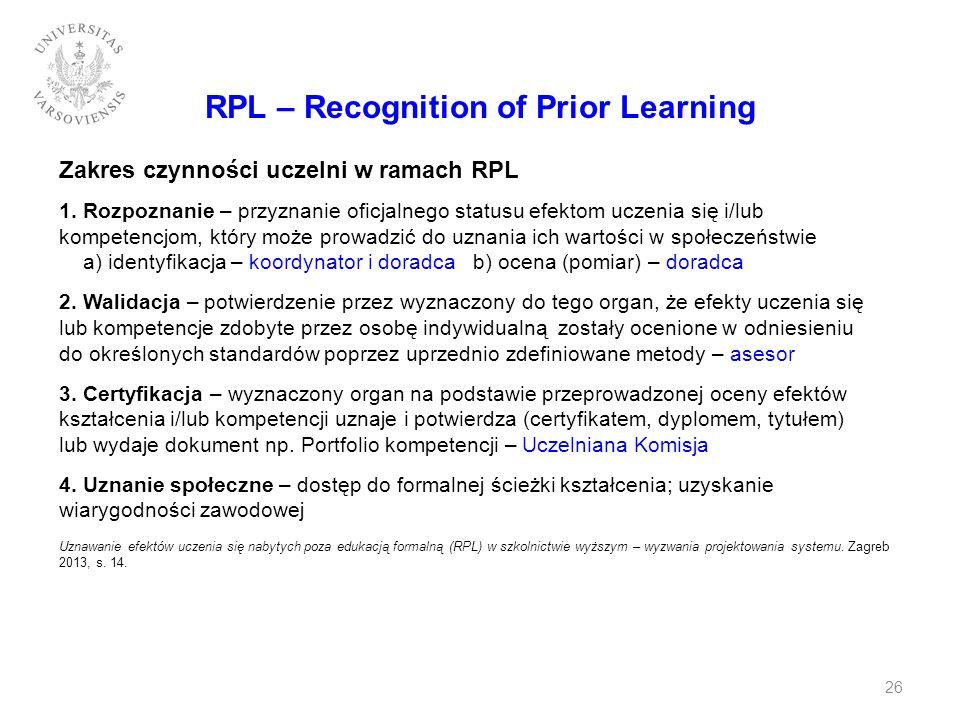 RPL – Recognition of Prior Learning Zakres czynności uczelni w ramach RPL 1. Rozpoznanie – przyznanie oficjalnego statusu efektom uczenia się i/lub ko