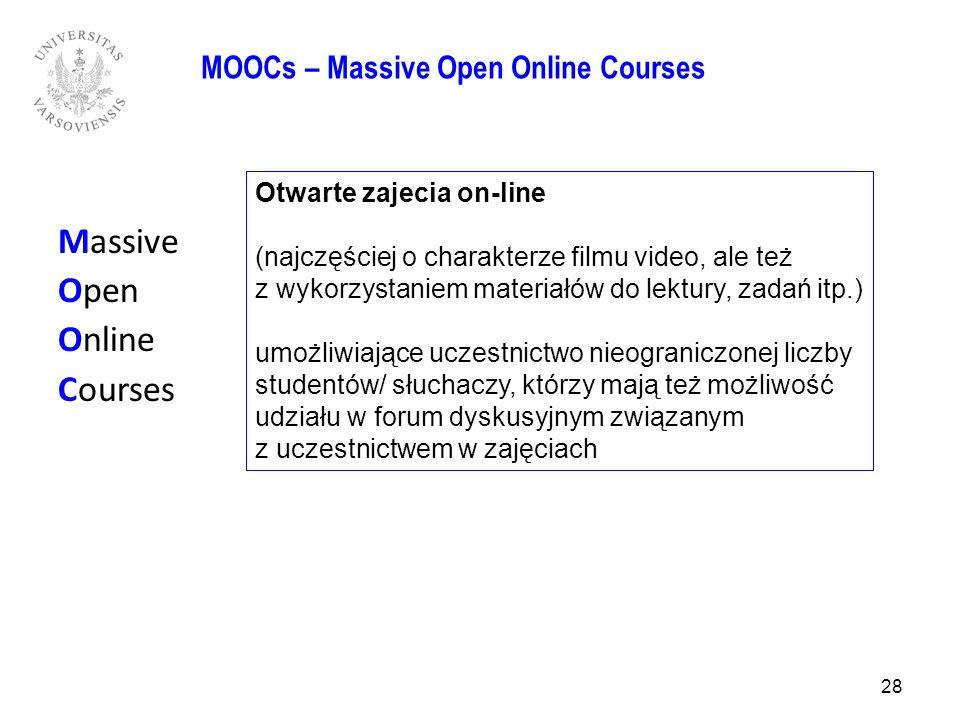 Massive Open Online Courses 28 MOOCs – Massive Open Online Courses Otwarte zajecia on-line (najczęściej o charakterze filmu video, ale też z wykorzyst