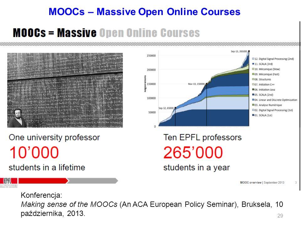 MOOCs – Massive Open Online Courses Konferencja: Making sense of the MOOCs (An ACA European Policy Seminar), Bruksela, 10 października, 2013. 29