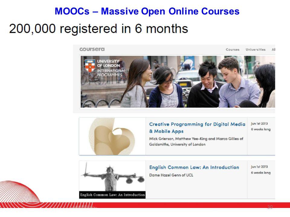 MOOCs – Massive Open Online Courses 30