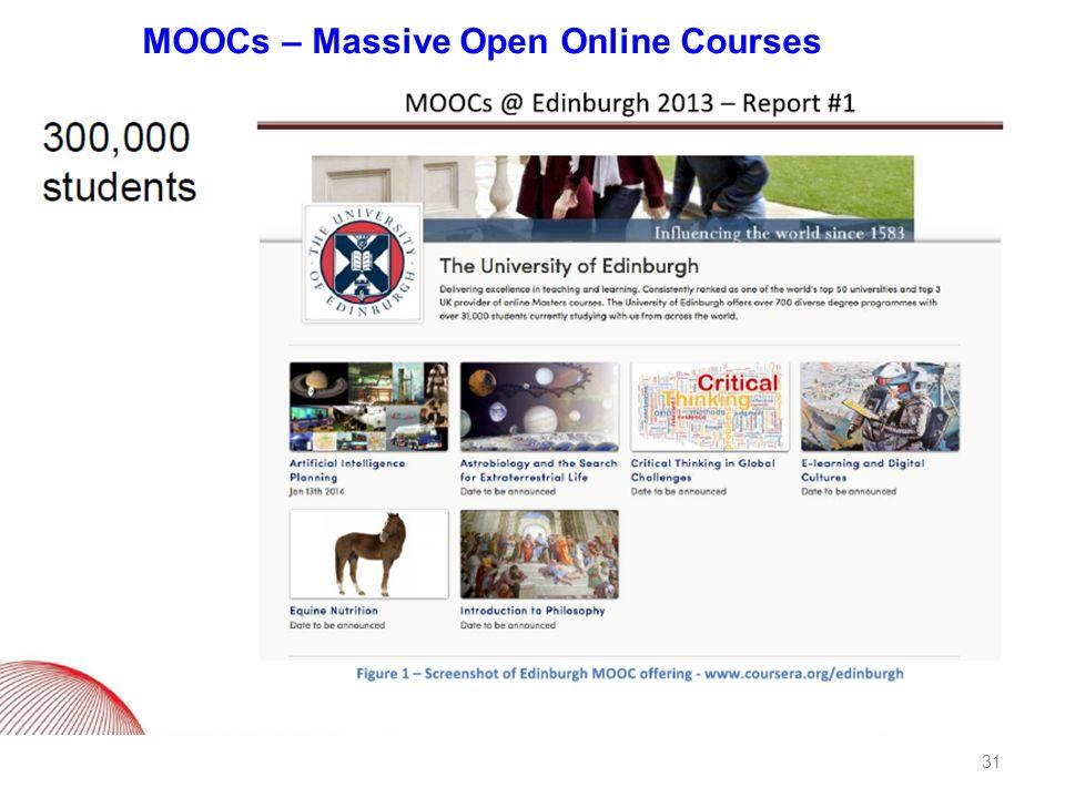 MOOCs – Massive Open Online Courses 31