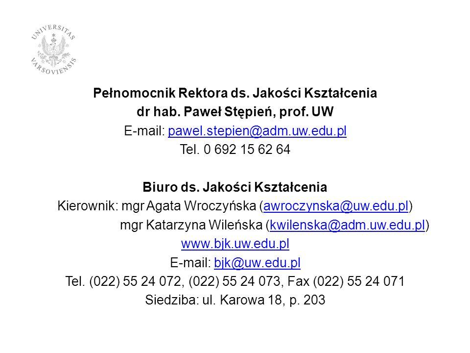 Pełnomocnik Rektora ds. Jakości Kształcenia dr hab. Paweł Stępień, prof. UW E-mail: pawel.stepien@adm.uw.edu.plpawel.stepien@adm.uw.edu.pl Tel. 0 692