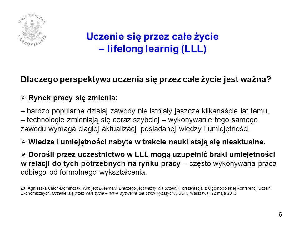 7 Uczenie się przez całe życie – lifelong learnig (LLL) Polska Rama Kwalifikacji jako narzędzie zmian w obszarze LLL Wspierające uczenie się przez całe życie.