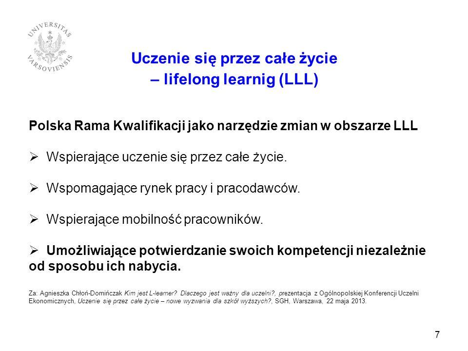 7 Uczenie się przez całe życie – lifelong learnig (LLL) Polska Rama Kwalifikacji jako narzędzie zmian w obszarze LLL Wspierające uczenie się przez cał