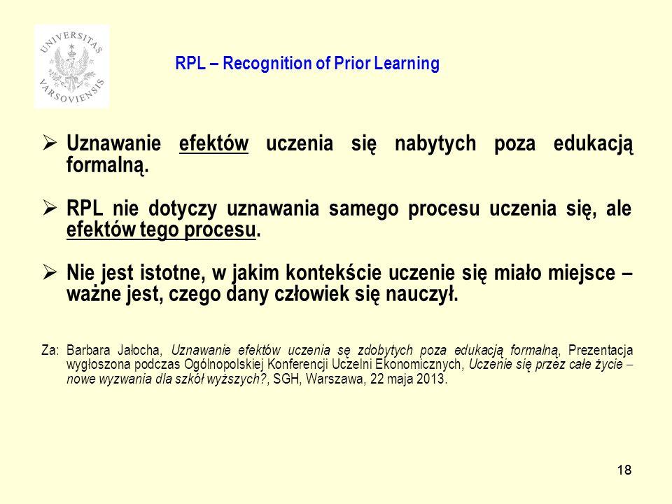 18 RPL – Recognition of Prior Learning Uznawanie efektów uczenia się nabytych poza edukacją formalną. RPL nie dotyczy uznawania samego procesu uczenia