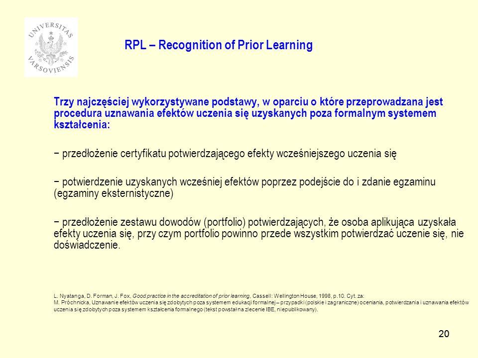20 RPL – Recognition of Prior Learning Trzy najczęściej wykorzystywane podstawy, w oparciu o które przeprowadzana jest procedura uznawania efektów uczenia się uzyskanych poza formalnym systemem kształcenia: przedłożenie certyfikatu potwierdzającego efekty wcześniejszego uczenia się potwierdzenie uzyskanych wcześniej efektów poprzez podejście do i zdanie egzaminu (egzaminy eksternistyczne) przedłożenie zestawu dowodów (portfolio) potwierdzających, że osoba aplikująca uzyskała efekty uczenia się, przy czym portfolio powinno przede wszystkim potwierdzać uczenie się, nie doświadczenie.