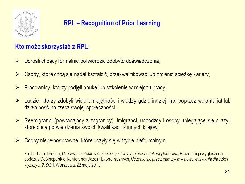 21 RPL – Recognition of Prior Learning Kto może skorzystać z RPL: Dorośli chcący formalnie potwierdzić zdobyte doświadczenia, Osoby, które chcą się nadal kształcić, przekwalifikować lub zmienić ścieżkę kariery, Pracownicy, którzy podjęli naukę lub szkolenie w miejscu pracy, Ludzie, którzy zdobyli wiele umiejętności i wiedzy gdzie indziej, np.