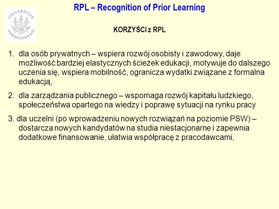 RPL – Recognition of Prior Learning KORZYŚCI z RPL 1.dla osób prywatnych – wspiera rozwój osobisty i zawodowy, daje możliwość bardziej elastycznych ścieżek edukacji, motywuje do dalszego uczenia się, wspiera mobilność, ogranicza wydatki związane z formalna edukacją, 2.dla zarządzania publicznego – wspomaga rozwój kapitału ludzkiego, społeczeństwa opartego na wiedzy i poprawę sytuacji na rynku pracy 3.