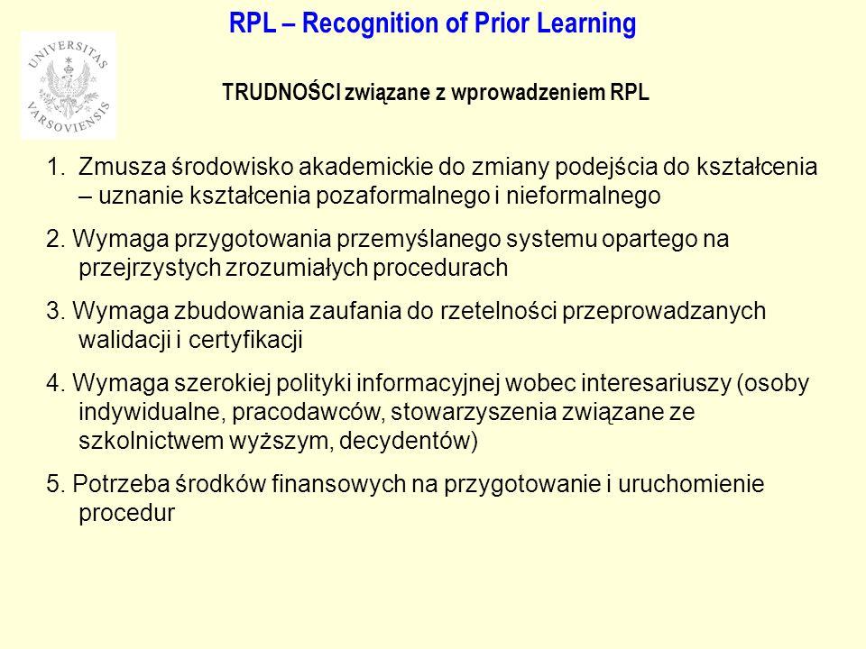 RPL – Recognition of Prior Learning TRUDNOŚCI związane z wprowadzeniem RPL 1.Zmusza środowisko akademickie do zmiany podejścia do kształcenia – uznanie kształcenia pozaformalnego i nieformalnego 2.