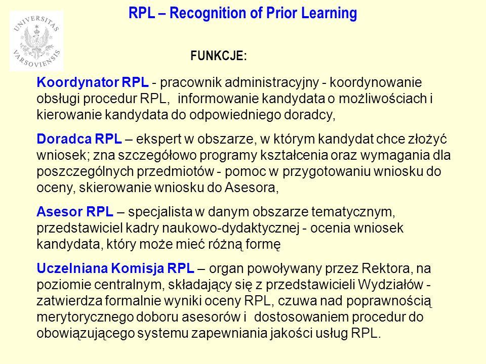 RPL – Recognition of Prior Learning Koordynator RPL - pracownik administracyjny - koordynowanie obsługi procedur RPL, informowanie kandydata o możliwościach i kierowanie kandydata do odpowiedniego doradcy, Doradca RPL – ekspert w obszarze, w którym kandydat chce złożyć wniosek; zna szczegółowo programy kształcenia oraz wymagania dla poszczególnych przedmiotów - pomoc w przygotowaniu wniosku do oceny, skierowanie wniosku do Asesora, Asesor RPL – specjalista w danym obszarze tematycznym, przedstawiciel kadry naukowo-dydaktycznej - ocenia wniosek kandydata, który może mieć różną formę Uczelniana Komisja RPL – organ powoływany przez Rektora, na poziomie centralnym, składający się z przedstawicieli Wydziałów - zatwierdza formalnie wyniki oceny RPL, czuwa nad poprawnością merytorycznego doboru asesorów i dostosowaniem procedur do obowiązującego systemu zapewniania jakości usług RPL.