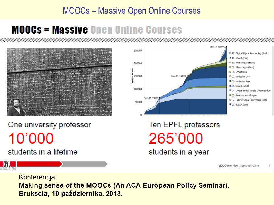 MOOCs – Massive Open Online Courses Konferencja: Making sense of the MOOCs (An ACA European Policy Seminar), Bruksela, 10 października, 2013.