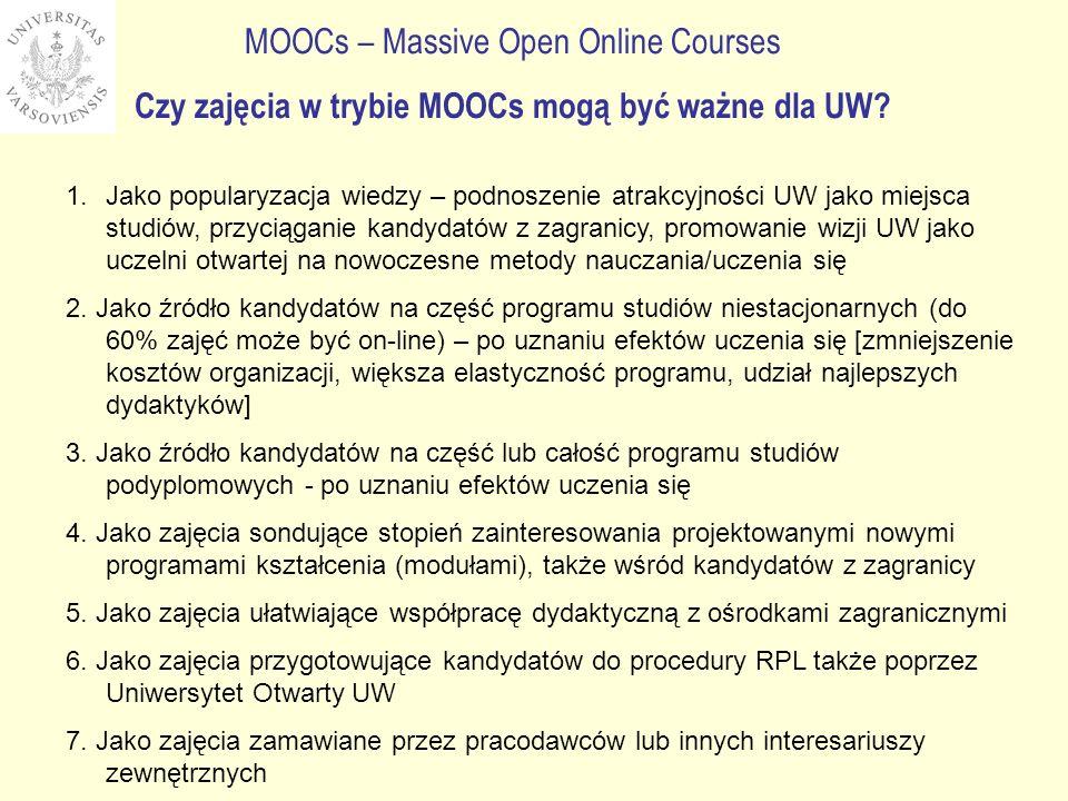 Czy zajęcia w trybie MOOCs mogą być ważne dla UW? 1.Jako popularyzacja wiedzy – podnoszenie atrakcyjności UW jako miejsca studiów, przyciąganie kandyd
