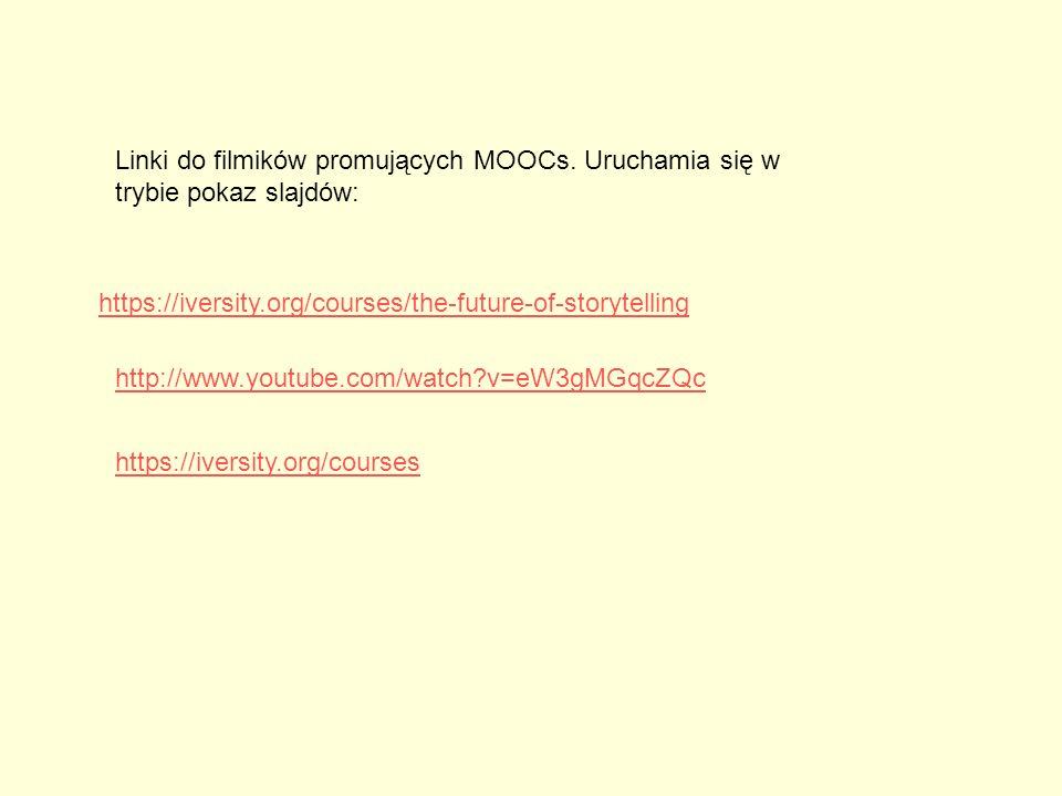 https://iversity.org/courses/the-future-of-storytelling Linki do filmików promujących MOOCs. Uruchamia się w trybie pokaz slajdów: https://iversity.or
