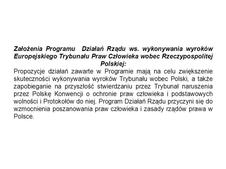 Założenia Programu Działań Rządu ws. wykonywania wyroków Europejskiego Trybunału Praw Człowieka wobec Rzeczypospolitej Polskiej: Propozycje działań za