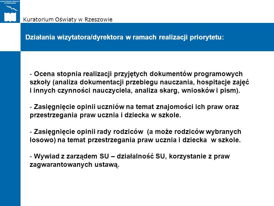 Kuratorium Oświaty w Rzeszowie Działania wizytatora/dyrektora w ramach realizacji priorytetu: - Ocena stopnia realizacji przyjętych dokumentów program