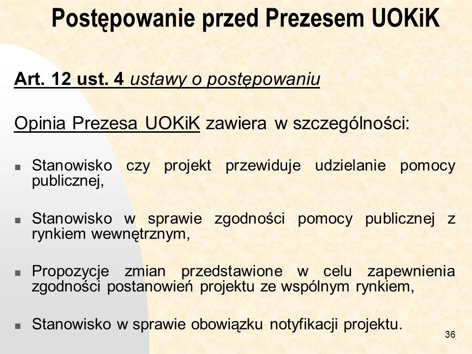 36 Postępowanie przed Prezesem UOKiK Art.12 ust.
