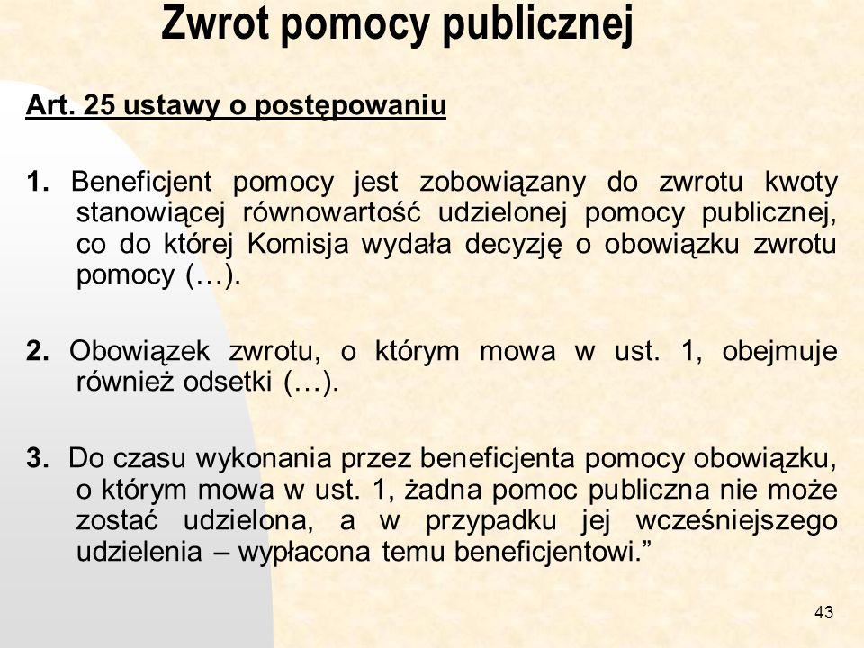 43 Zwrot pomocy publicznej Art.25 ustawy o postępowaniu 1.