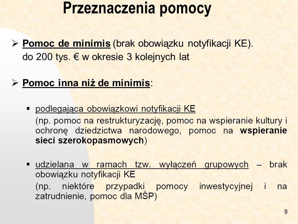 9 Przeznaczenia pomocy Pomoc de minimis (brak obowiązku notyfikacji KE).