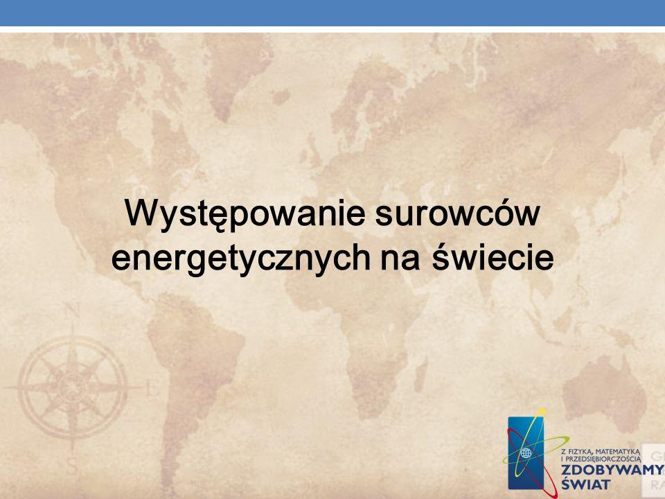 Występowanie surowców energetycznych na świecie
