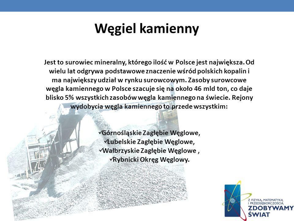 Jest to surowiec mineralny, którego ilość w Polsce jest największa. Od wielu lat odgrywa podstawowe znaczenie wśród polskich kopalin i ma największy u