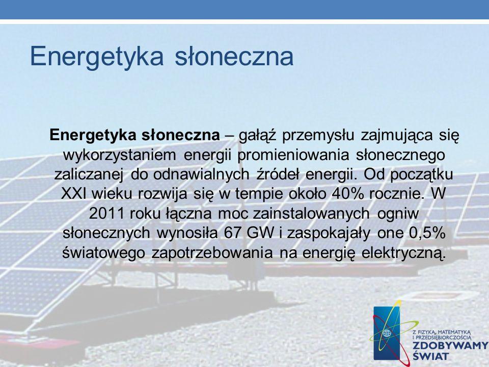 Energetyka słoneczna Energetyka słoneczna – gałąź przemysłu zajmująca się wykorzystaniem energii promieniowania słonecznego zaliczanej do odnawialnych